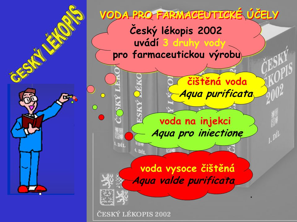 ČESKÝ LÉKOPIS VODA PRO FARMACEUTICKÉ ÚČELY Český lékopis 2002