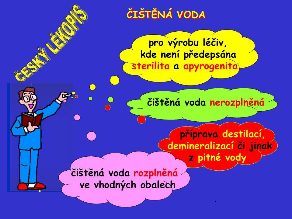 ČESKÝ LÉKOPIS ČIŠTĚNÁ VODA pro výrobu léčiv, kde není předepsána