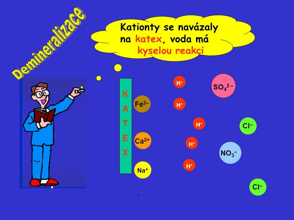 Demineralizace Kationty se navázaly na katex, voda má kyselou reakci .
