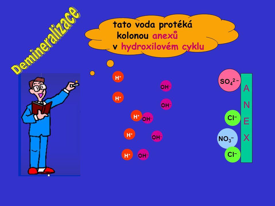 Demineralizace tato voda protéká kolonou anexů v hydroxilovém cyklu A