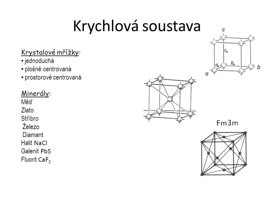 Krychlová soustava Krystalové mřížky: jednoduchá plošně centrovaná