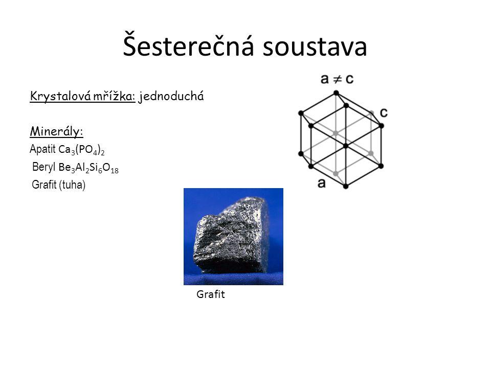 Šesterečná soustava Krystalová mřížka: jednoduchá Minerály: Apatit Ca3(PO4)2 Beryl Be3Al2Si6O18 Grafit (tuha)