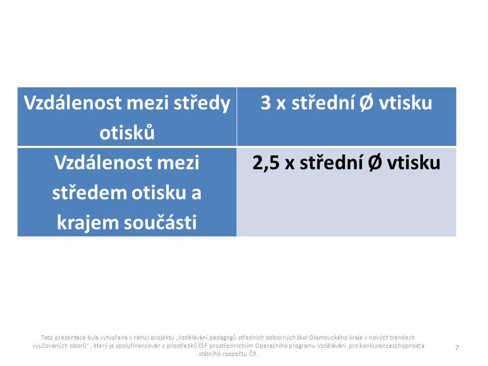 Vzdálenost mezi středy otisků 3 x střední Ø vtisku