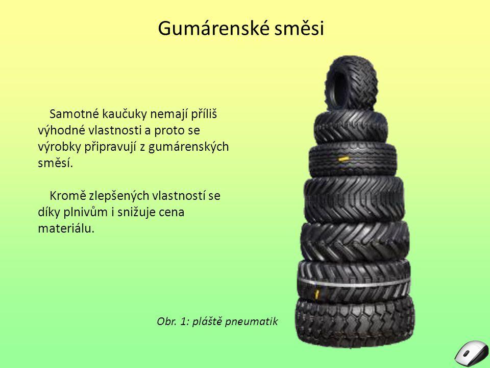 Gumárenské směsi Samotné kaučuky nemají příliš výhodné vlastnosti a proto se výrobky připravují z gumárenských směsí.