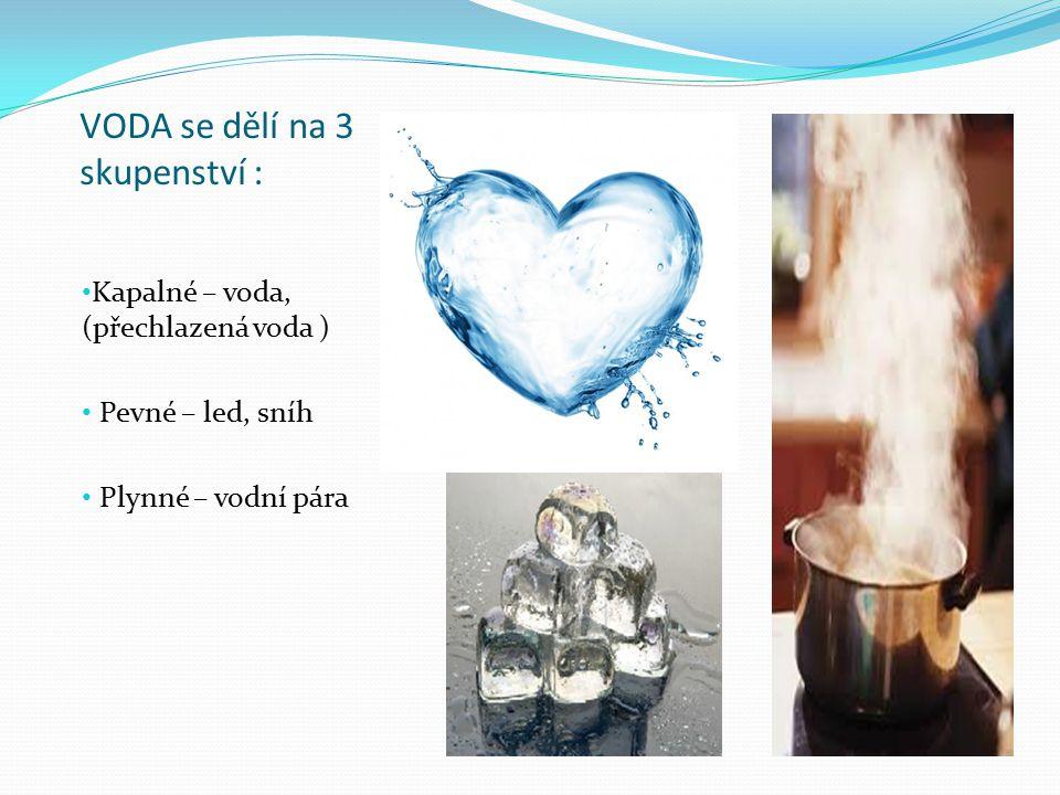 VODA se dělí na 3 skupenství :