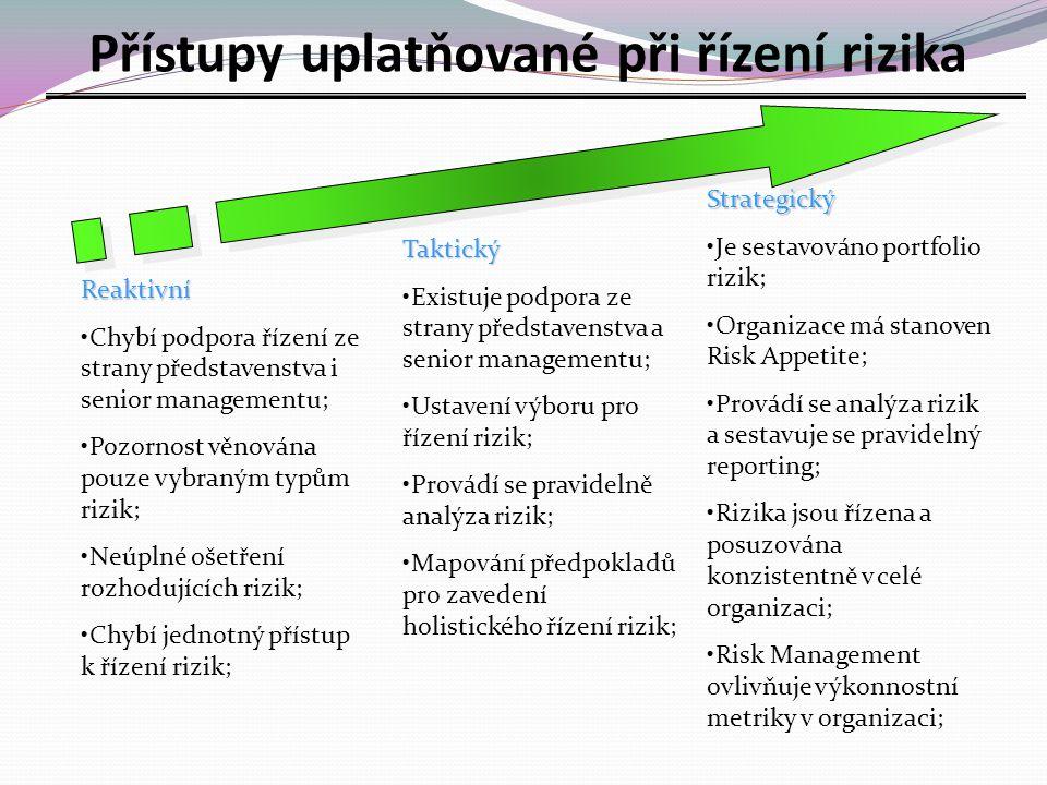 Přístupy uplatňované při řízení rizika