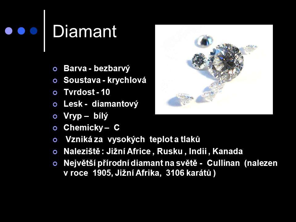 Diamant Barva - bezbarvý Soustava - krychlová Tvrdost - 10