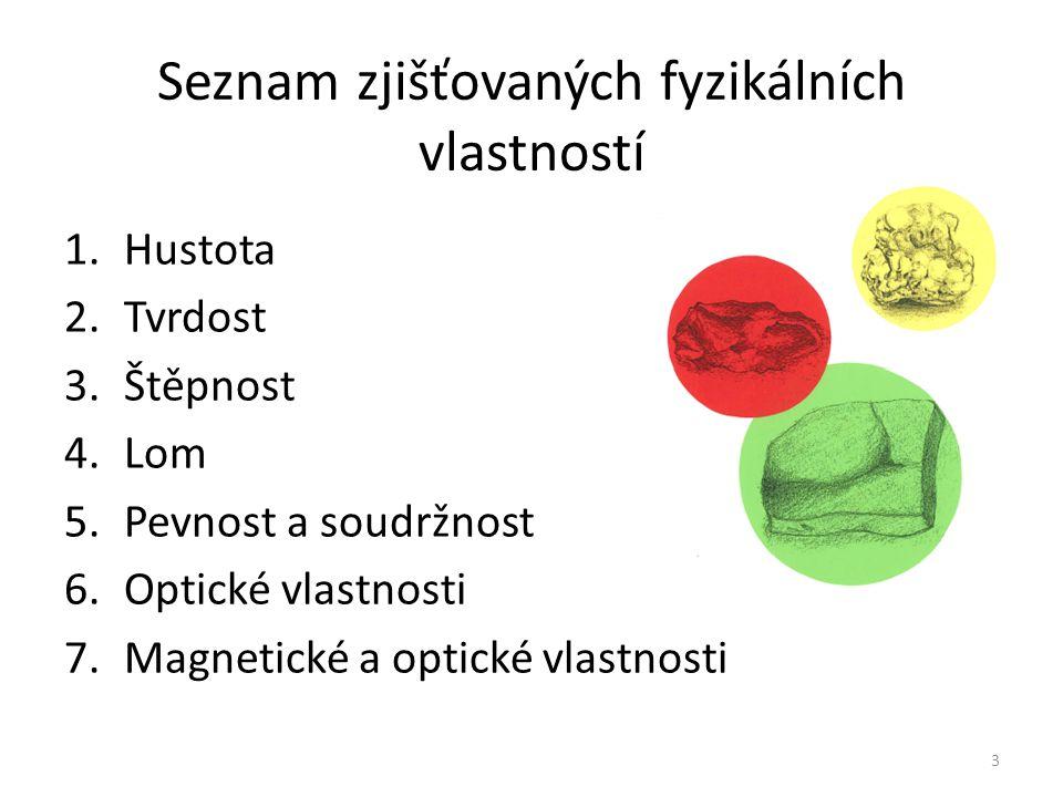 Seznam zjišťovaných fyzikálních vlastností