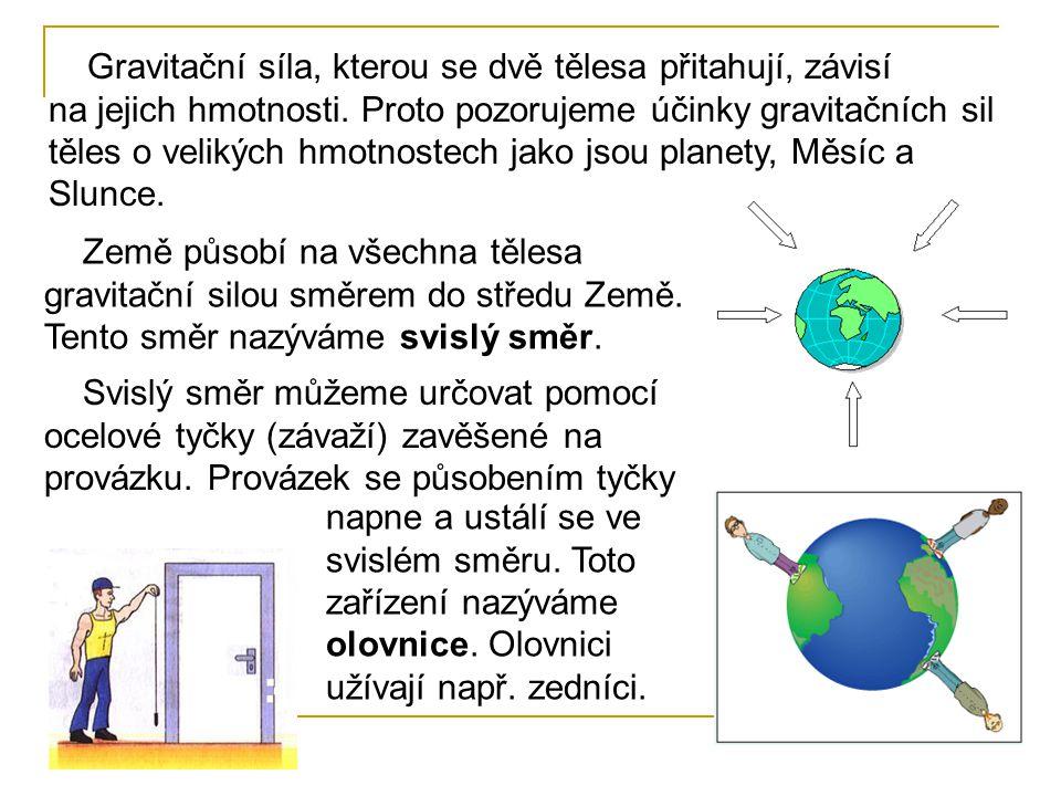 Gravitační síla, kterou se dvě tělesa přitahují, závisí na jejich hmotnosti. Proto pozorujeme účinky gravitačních sil těles o velikých hmotnostech jako jsou planety, Měsíc a Slunce.