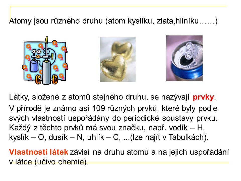 Atomy jsou různého druhu (atom kyslíku, zlata,hliníku……)