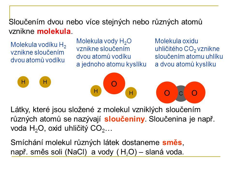 Sloučením dvou nebo více stejných nebo různých atomů vznikne molekula.