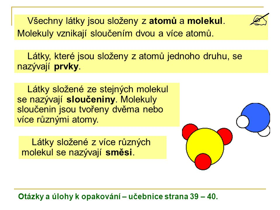 Všechny látky jsou složeny z atomů a molekul.