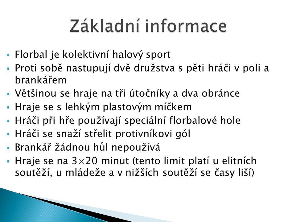 Základní informace Florbal je kolektivní halový sport