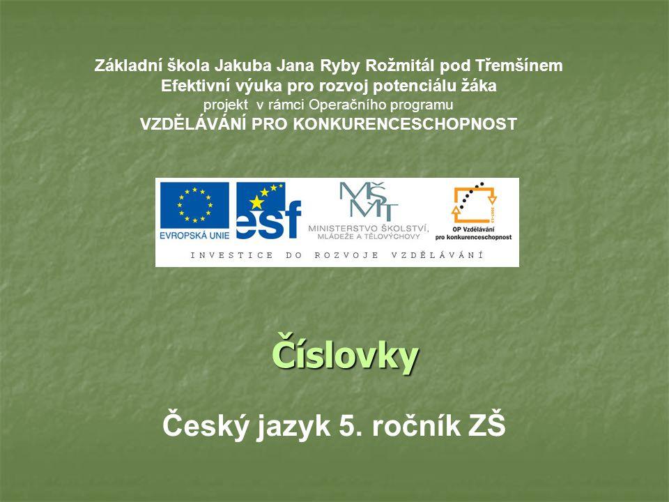 Číslovky Český jazyk 5. ročník ZŠ