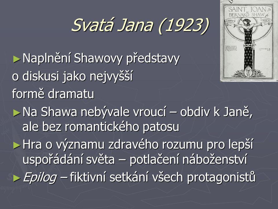 Svatá Jana (1923) Naplnění Shawovy představy o diskusi jako nejvyšší