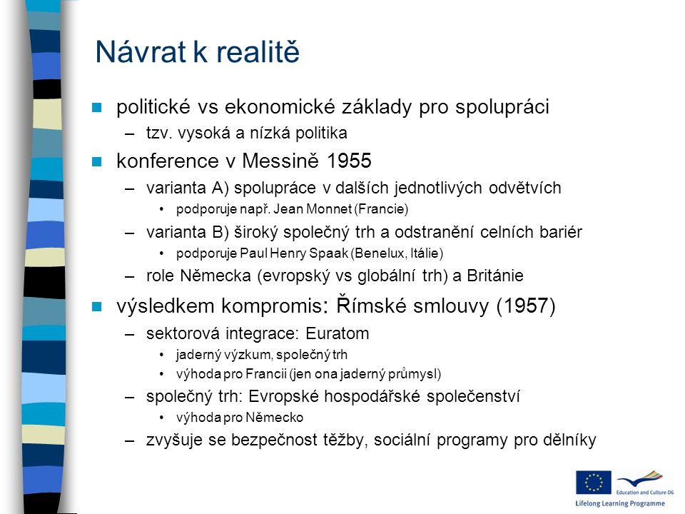 Návrat k realitě politické vs ekonomické základy pro spolupráci