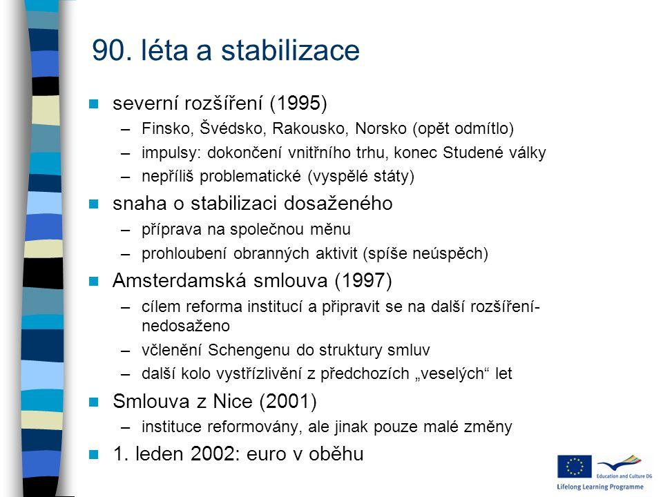 90. léta a stabilizace severní rozšíření (1995)
