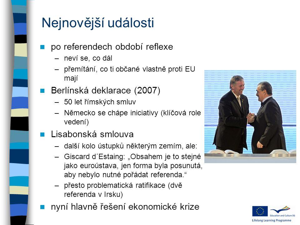 Nejnovější události po referendech období reflexe