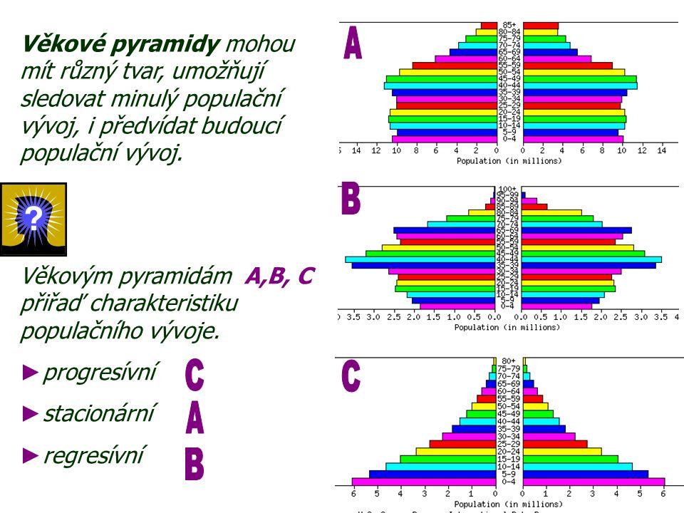 Věkové pyramidy mohou mít různý tvar, umožňují sledovat minulý populační vývoj, i předvídat budoucí populační vývoj.