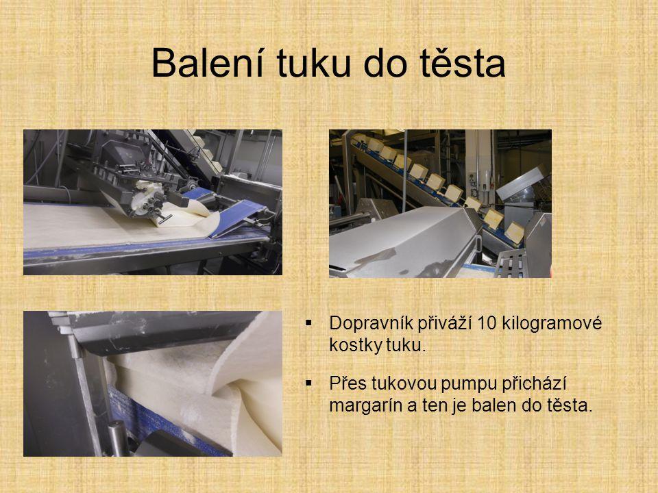 Balení tuku do těsta Dopravník přiváží 10 kilogramové kostky tuku.