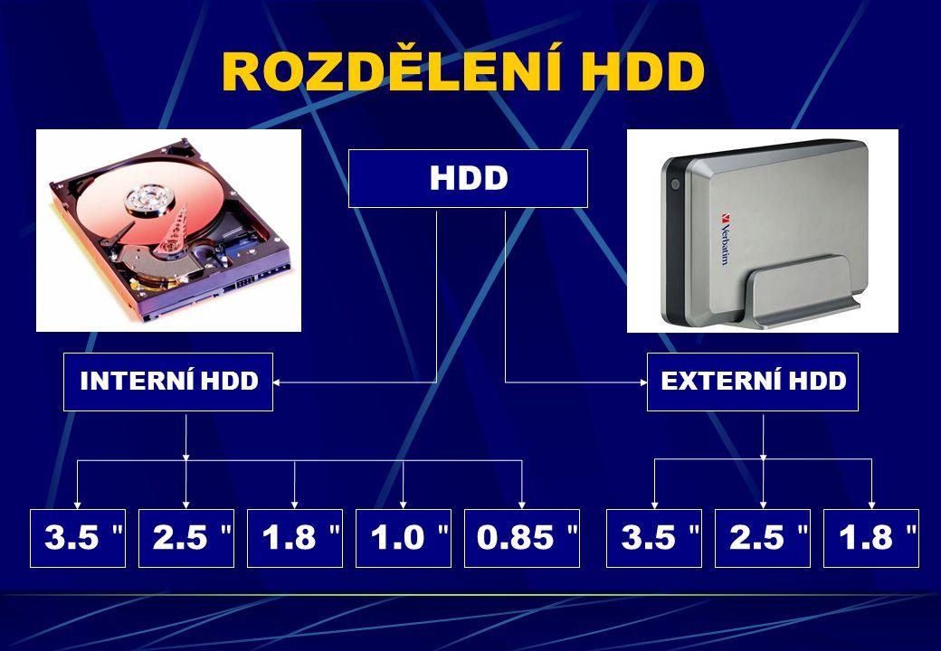 ROZDĚLENÍ HDD HDD INTERNÍ HDD EXTERNÍ HDD 3.5 2.5 1.8 1.0 0.85 3.5 2.5 1.8