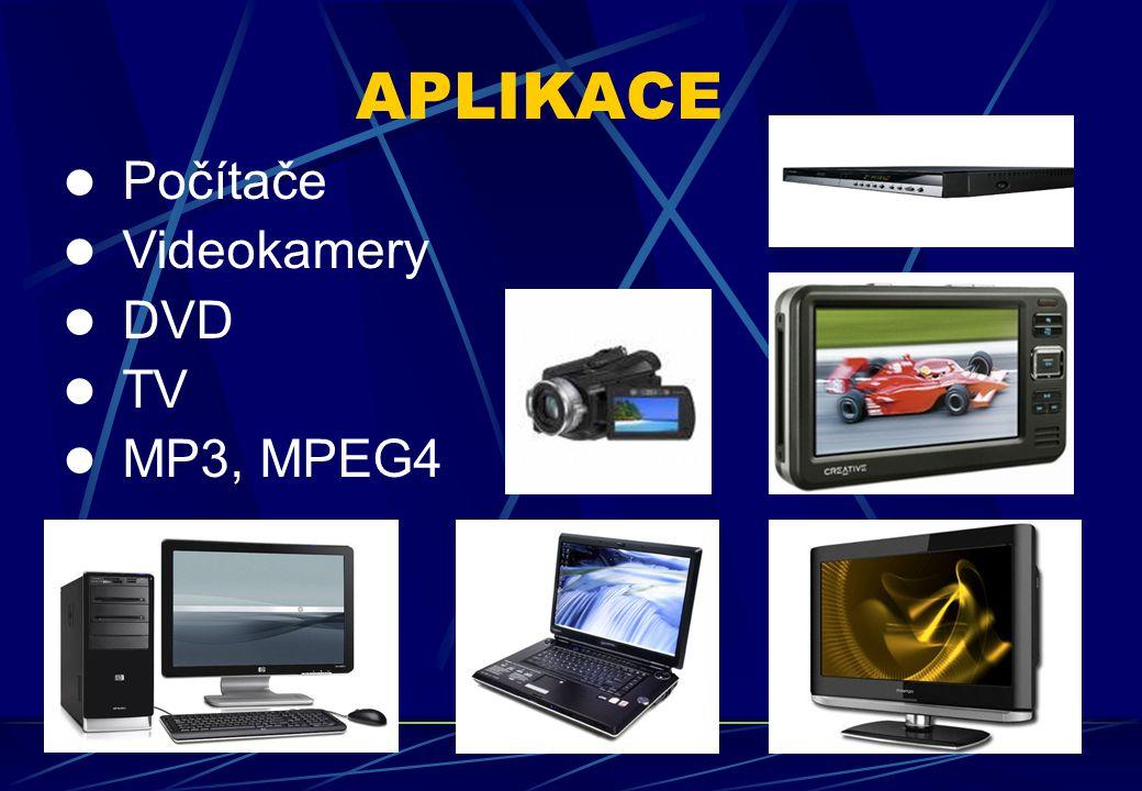 APLIKACE Počítače Videokamery DVD TV MP3, MPEG4