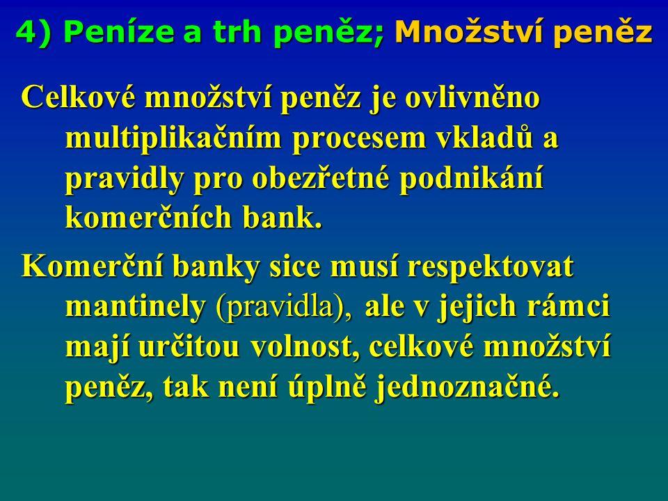 4) Peníze a trh peněz; Množství peněz