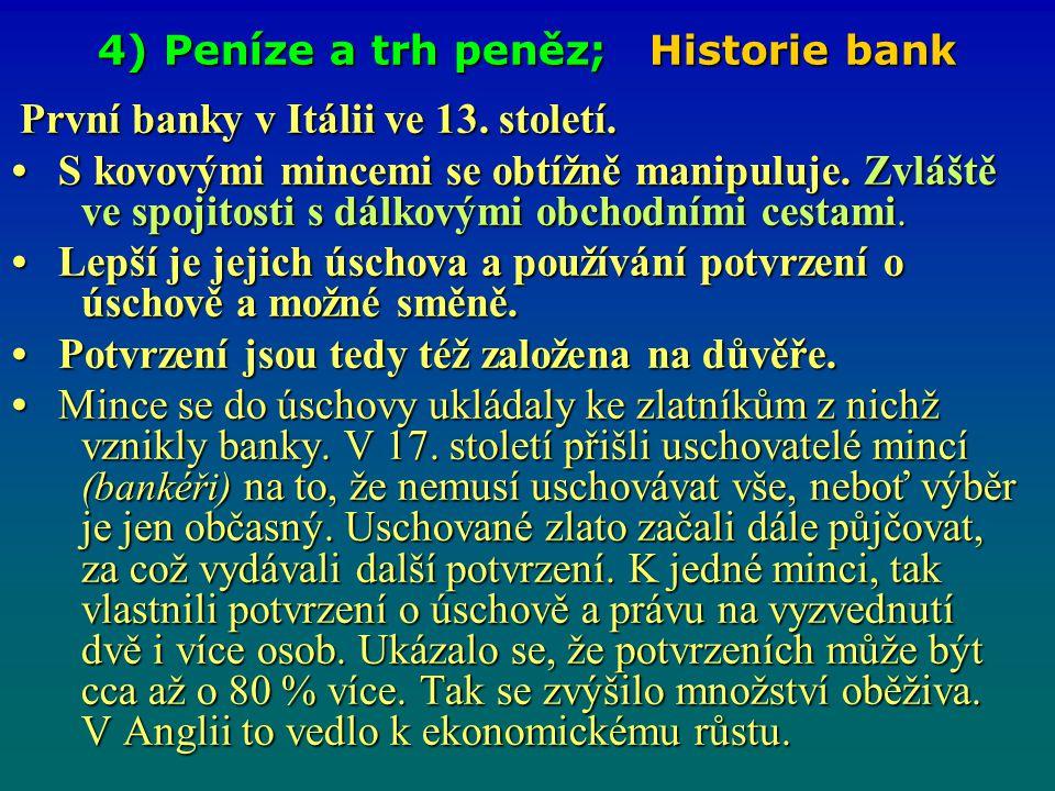 4) Peníze a trh peněz; Historie bank