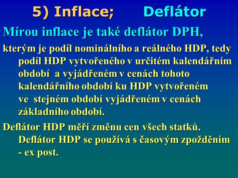 5) Inflace; Deflátor Mírou inflace je také deflátor DPH,