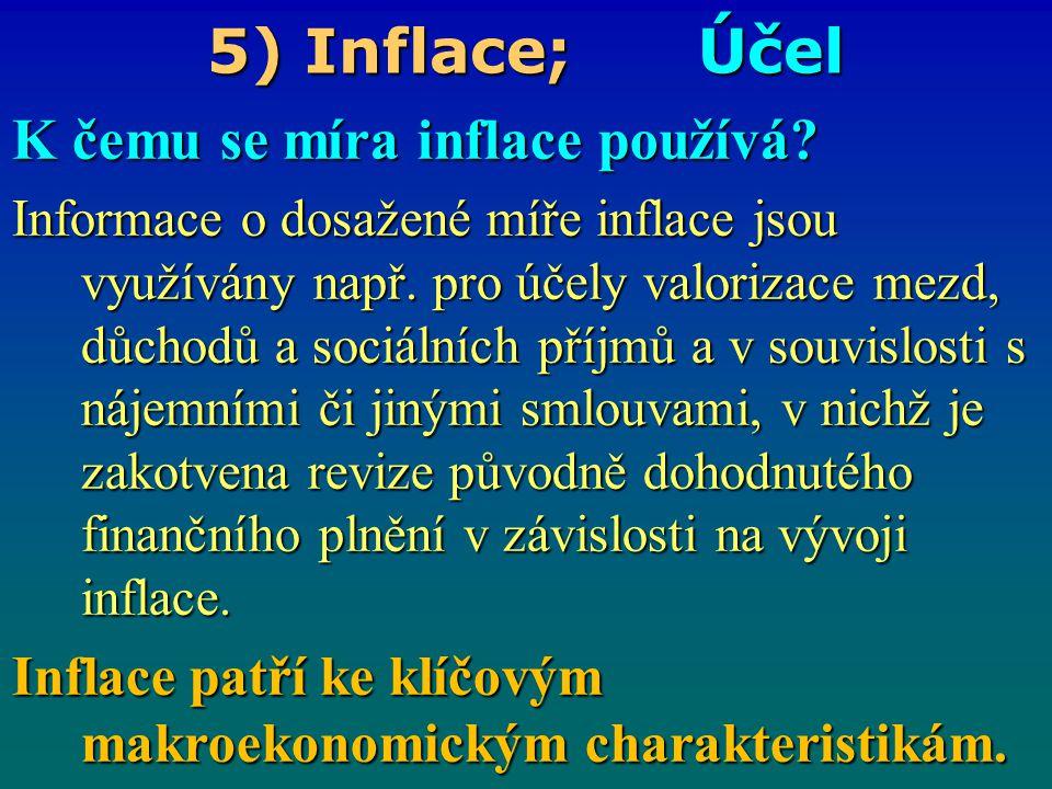 5) Inflace; Účel K čemu se míra inflace používá
