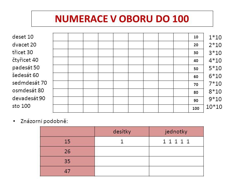 NUMERACE V OBORU DO 100 1*10 2*10 3*10 4*10 5*10 6*10 7*10 8*10 9*10