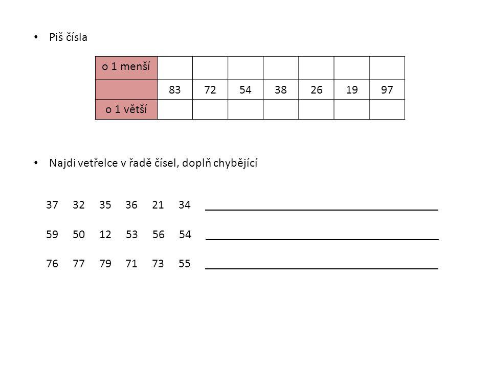 Piš čísla o 1 menší. 83. 72. 54. 38. 26. 19. 97. o 1 větší. Najdi vetřelce v řadě čísel, doplň chybějící.