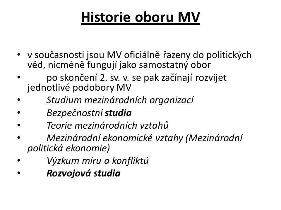 Historie oboru MV v současnosti jsou MV oficiálně řazeny do politických věd, nicméně fungují jako samostatný obor.