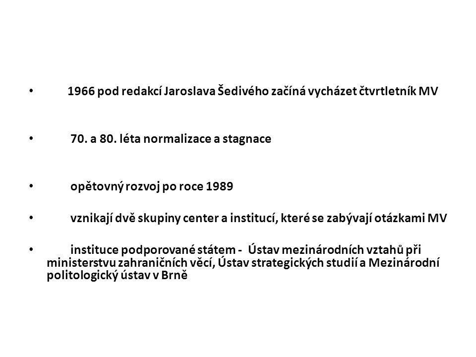 1966 pod redakcí Jaroslava Šedivého začíná vycházet čtvrtletník MV