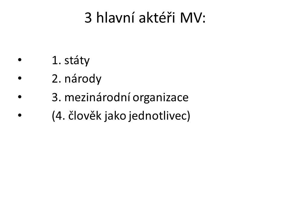 3 hlavní aktéři MV: 1. státy 2. národy 3. mezinárodní organizace