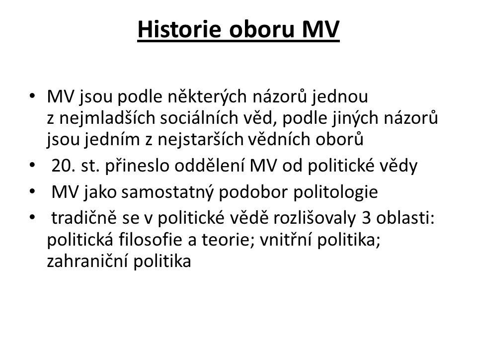 Historie oboru MV MV jsou podle některých názorů jednou z nejmladších sociálních věd, podle jiných názorů jsou jedním z nejstarších vědních oborů.