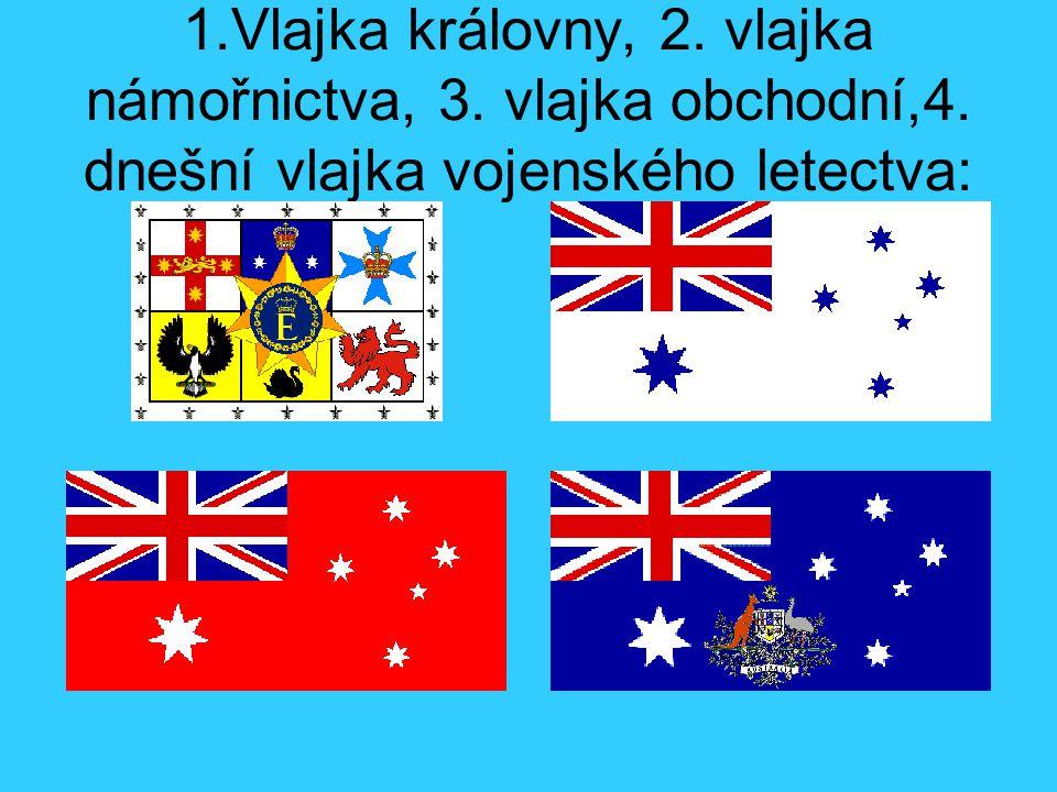 1. Vlajka královny, 2. vlajka námořnictva, 3. vlajka obchodní,4