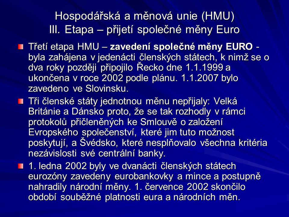 Hospodářská a měnová unie (HMU) III. Etapa – přijetí společné měny Euro