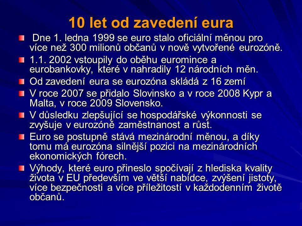 10 let od zavedení eura Dne 1. ledna 1999 se euro stalo oficiální měnou pro více než 300 milionů občanů v nově vytvořené eurozóně.