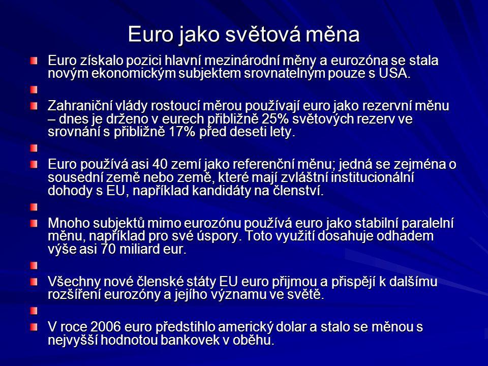 Euro jako světová měna Euro získalo pozici hlavní mezinárodní měny a eurozóna se stala novým ekonomickým subjektem srovnatelným pouze s USA.