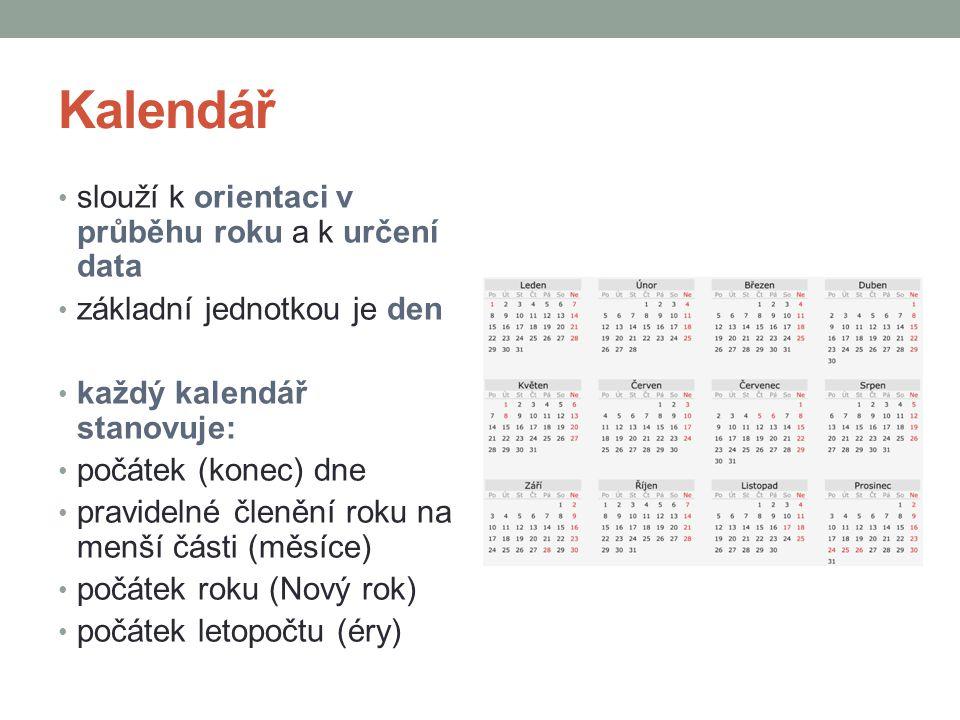 Kalendář slouží k orientaci v průběhu roku a k určení data