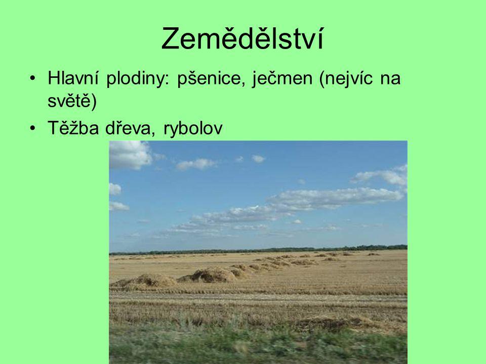 Zemědělství Hlavní plodiny: pšenice, ječmen (nejvíc na světě)