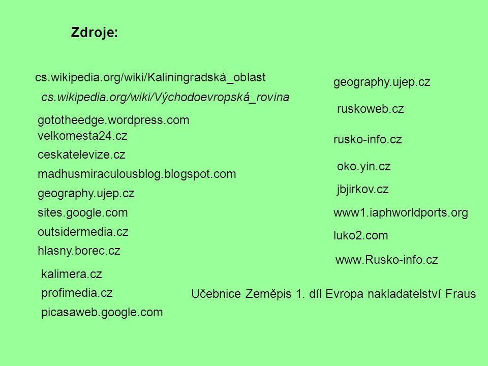 Zdroje: cs.wikipedia.org/wiki/Kaliningradská_oblast geography.ujep.cz