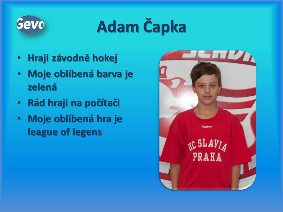 Adam Čapka Hraji závodně hokej Moje oblíbená barva je zelená