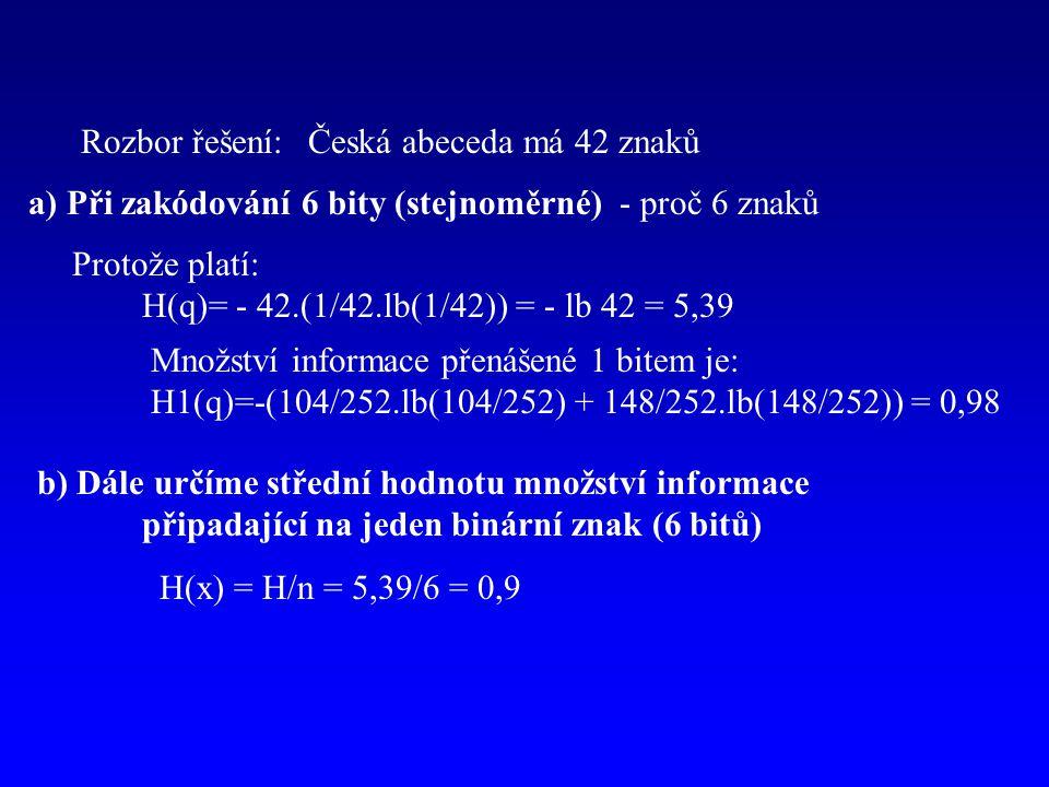 Rozbor řešení: Česká abeceda má 42 znaků. a) Při zakódování 6 bity (stejnoměrné) - proč 6 znaků. Protože platí: