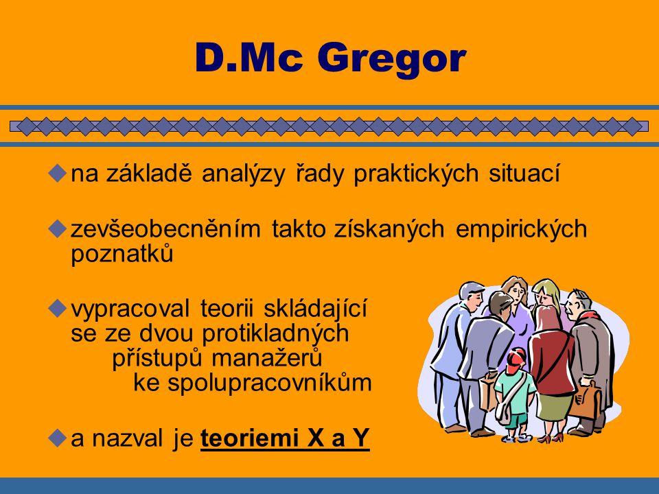 D.Mc Gregor na základě analýzy řady praktických situací