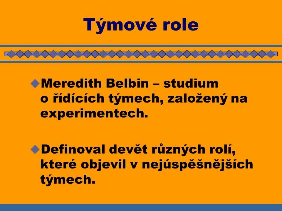 Týmové role Meredith Belbin – studium o řídících týmech, založený na experimentech.