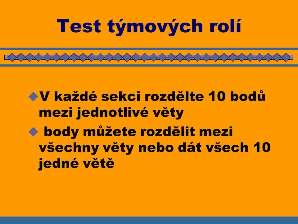 Test týmových rolí V každé sekci rozdělte 10 bodů mezi jednotlivé věty