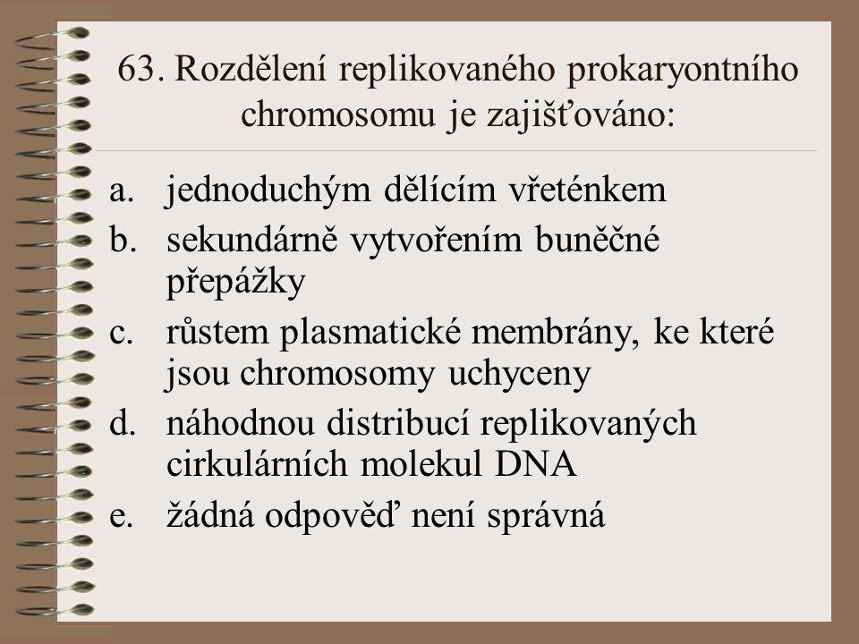 63. Rozdělení replikovaného prokaryontního chromosomu je zajišťováno: