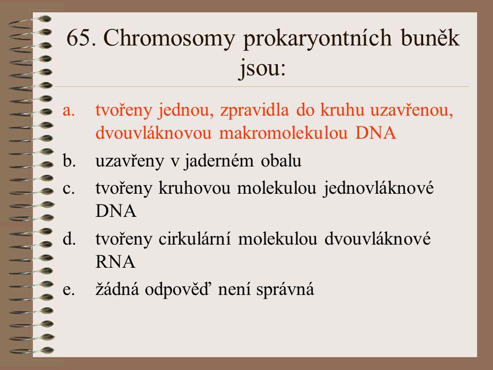 65. Chromosomy prokaryontních buněk jsou: